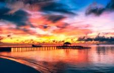 The sunset in Maayafushi island (Maldives)
